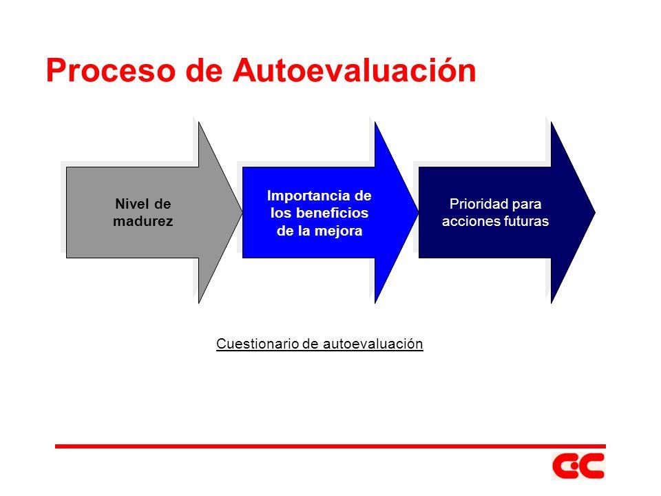 Prioridad para acciones futuras Prioridad para acciones futuras Importancia de los beneficios de la mejora Importancia de los beneficios de la mejora