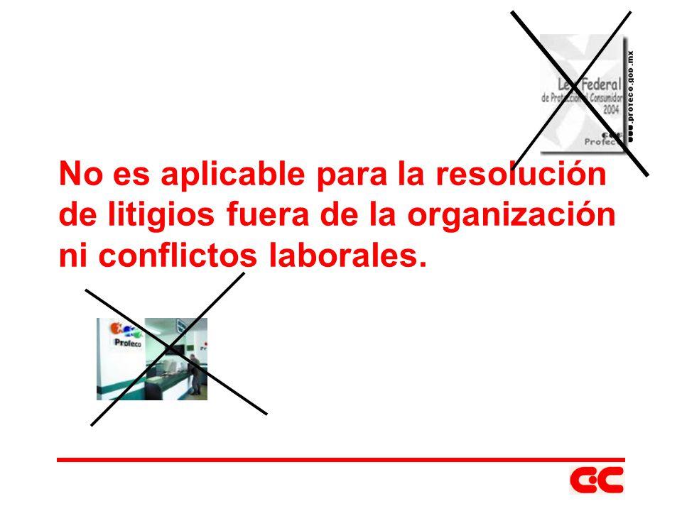 No es aplicable para la resolución de litigios fuera de la organización ni conflictos laborales.