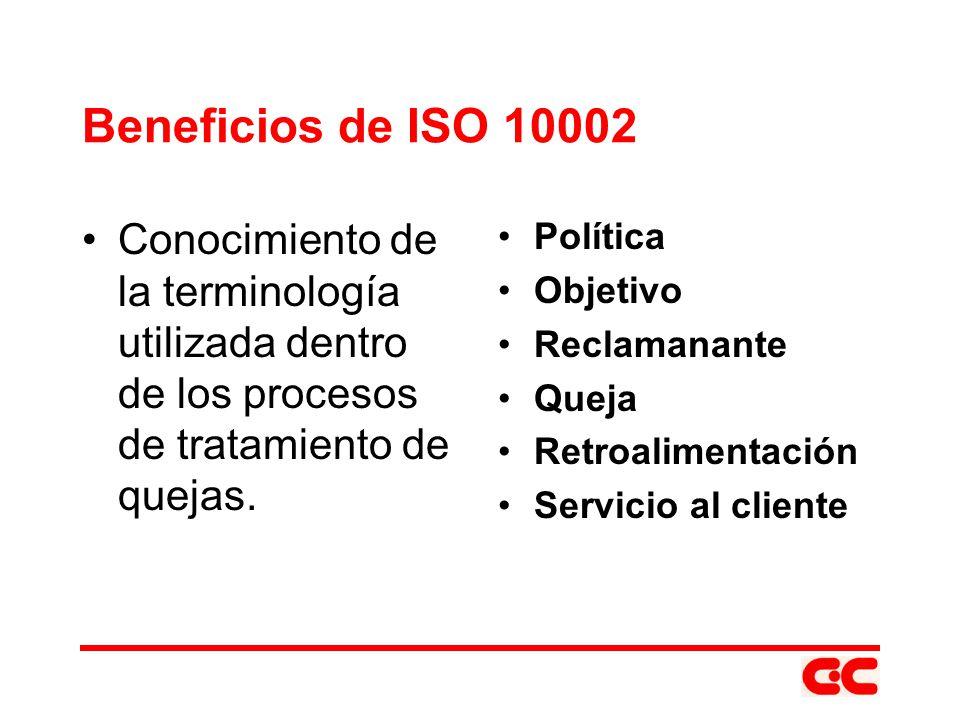 Beneficios de ISO 10002 Conocimiento de la terminología utilizada dentro de los procesos de tratamiento de quejas. Política Objetivo Reclamanante Quej