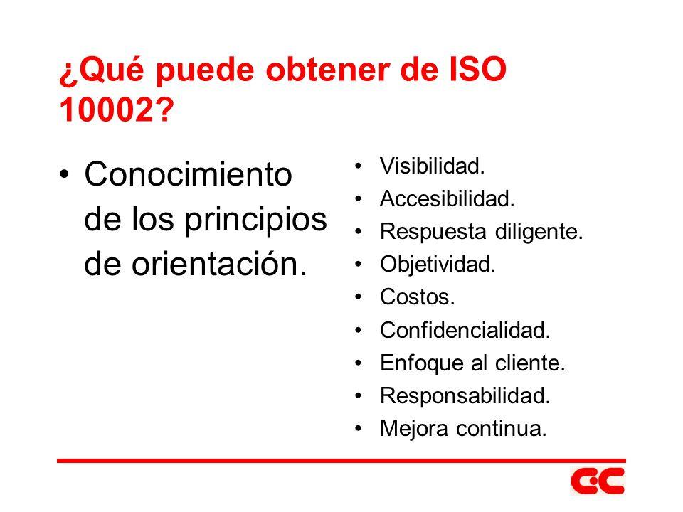 ¿Qué puede obtener de ISO 10002? Conocimiento de los principios de orientación. Visibilidad. Accesibilidad. Respuesta diligente. Objetividad. Costos.