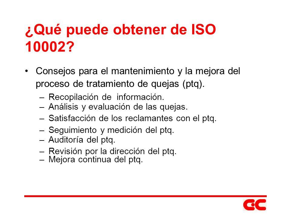¿Qué puede obtener de ISO 10002? Consejos para el mantenimiento y la mejora del proceso de tratamiento de quejas (ptq). –Recopilación de información.