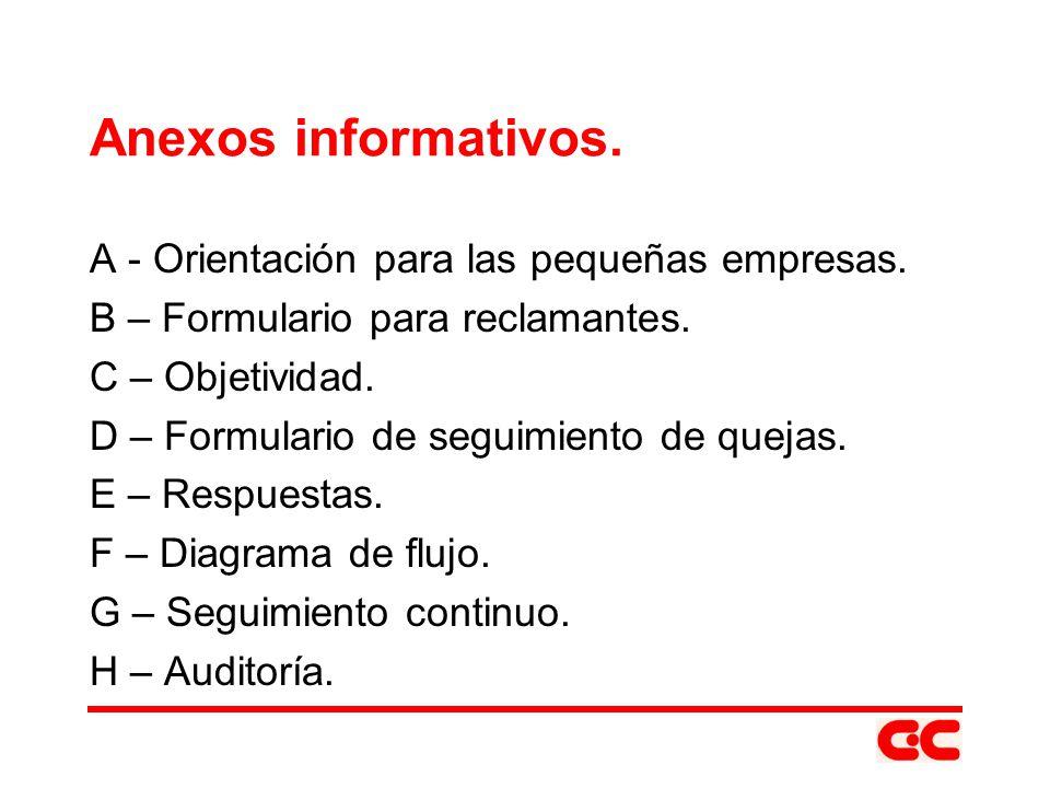 Anexos informativos. A - Orientación para las pequeñas empresas. B – Formulario para reclamantes. C – Objetividad. D – Formulario de seguimiento de qu