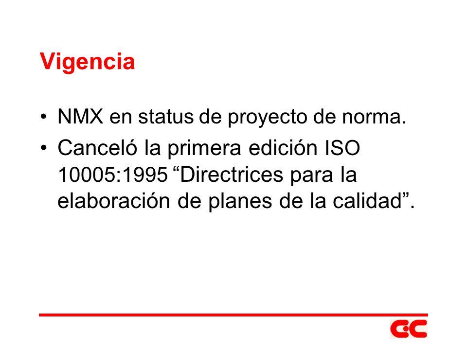 Vigencia NMX en status de proyecto de norma. Canceló la primera edición ISO 10005:1995 Directrices para la elaboración de planes de la calidad.