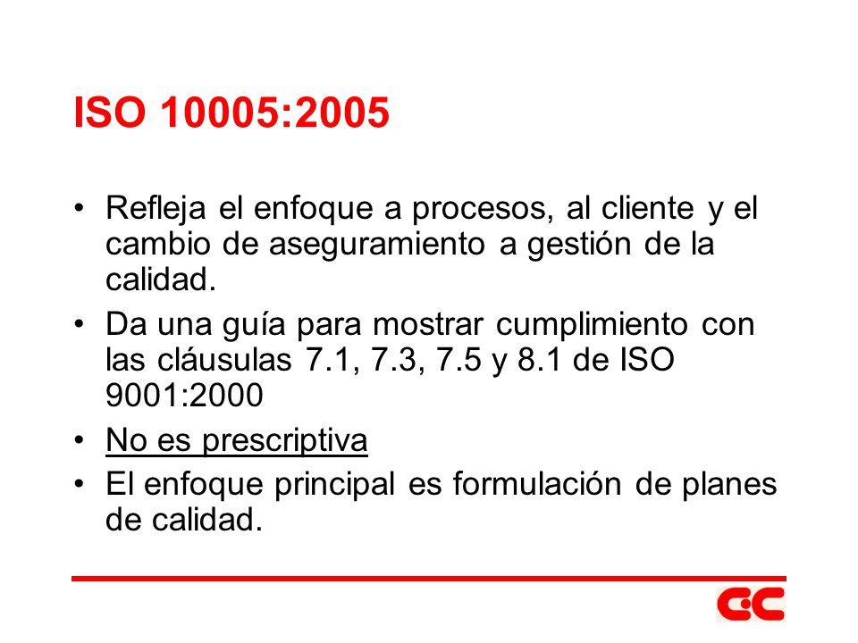 ISO 10005:2005 Refleja el enfoque a procesos, al cliente y el cambio de aseguramiento a gestión de la calidad. Da una guía para mostrar cumplimiento c