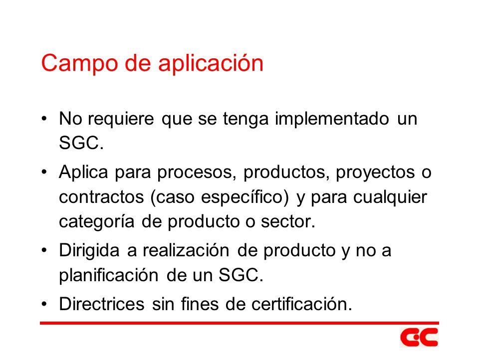 Campo de aplicación No requiere que se tenga implementado un SGC. Aplica para procesos, productos, proyectos o contractos (caso específico) y para cua