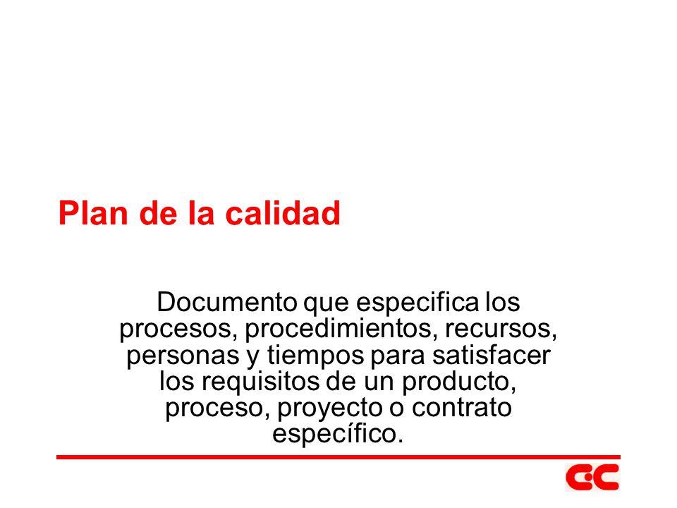 Plan de la calidad Documento que especifica los procesos, procedimientos, recursos, personas y tiempos para satisfacer los requisitos de un producto,