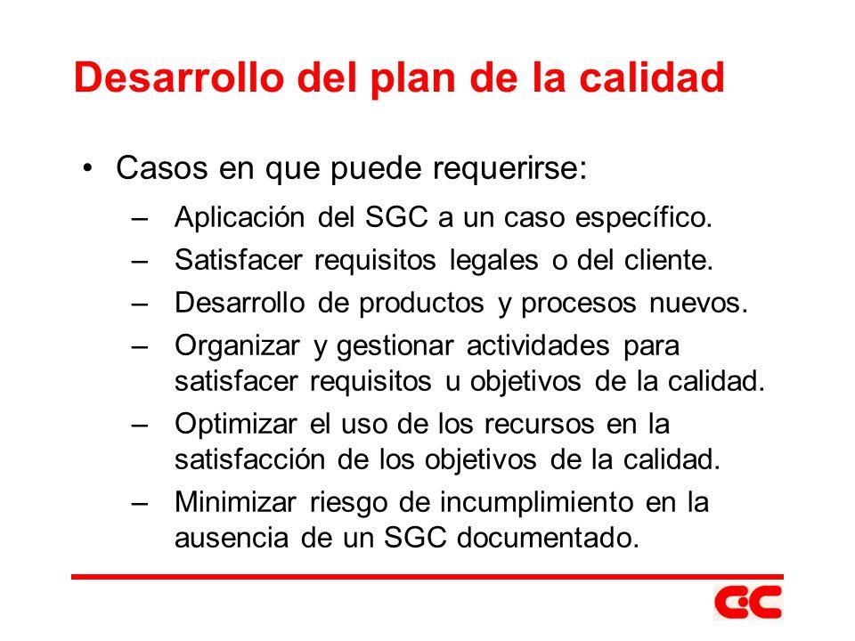 Desarrollo del plan de la calidad Casos en que puede requerirse: –Aplicación del SGC a un caso específico. –Satisfacer requisitos legales o del client