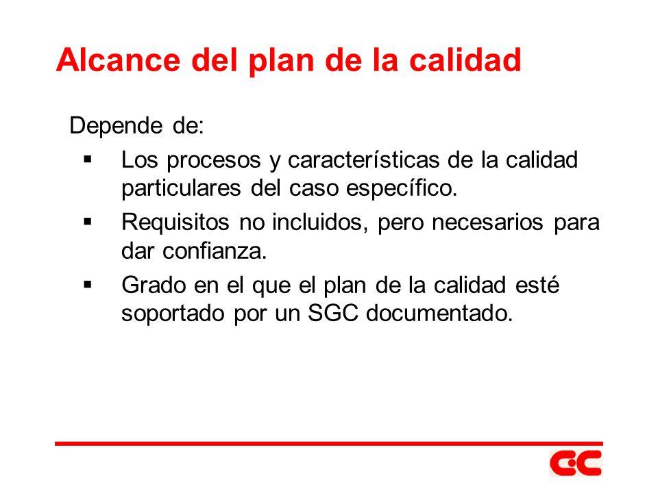 Alcance del plan de la calidad Depende de: Los procesos y características de la calidad particulares del caso específico. Requisitos no incluidos, per