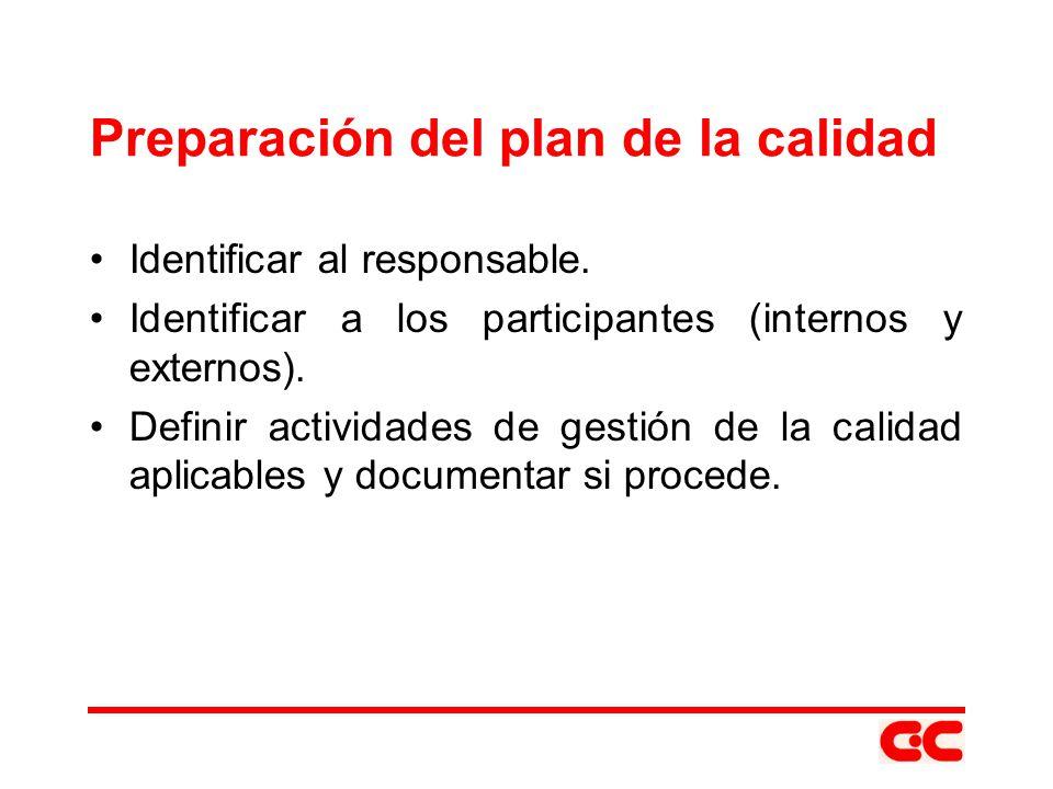 Preparación del plan de la calidad Identificar al responsable. Identificar a los participantes (internos y externos). Definir actividades de gestión d