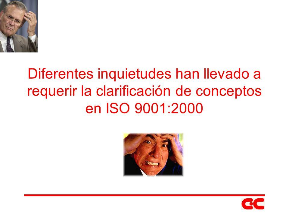 Diferentes inquietudes han llevado a requerir la clarificación de conceptos en ISO 9001:2000