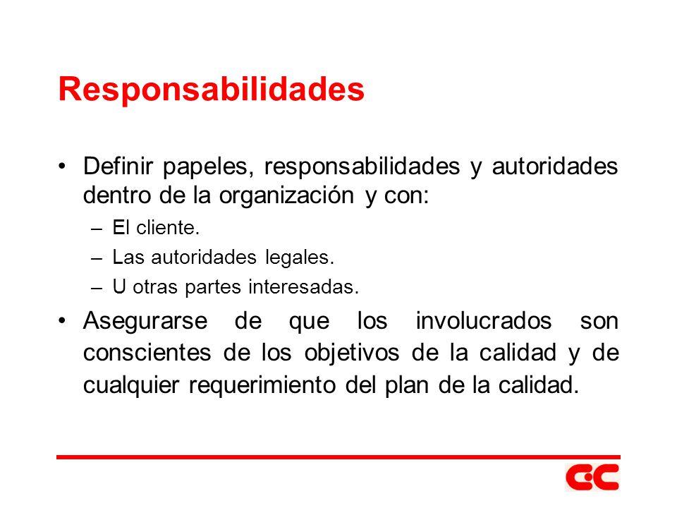 Responsabilidades Definir papeles, responsabilidades y autoridades dentro de la organización y con: –El cliente. –Las autoridades legales. –U otras pa