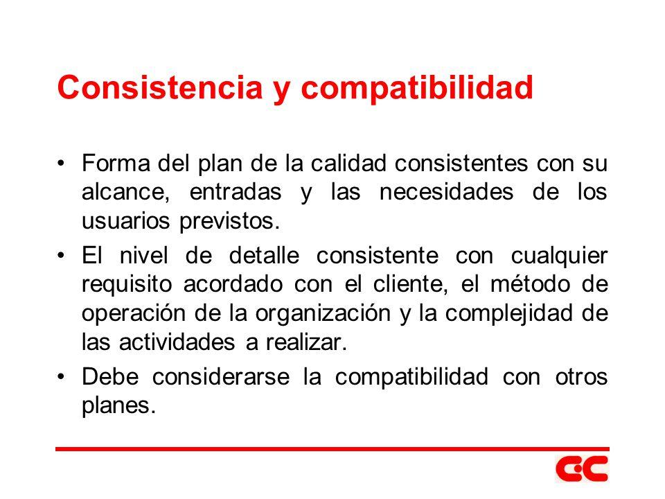 Consistencia y compatibilidad Forma del plan de la calidad consistentes con su alcance, entradas y las necesidades de los usuarios previstos. El nivel