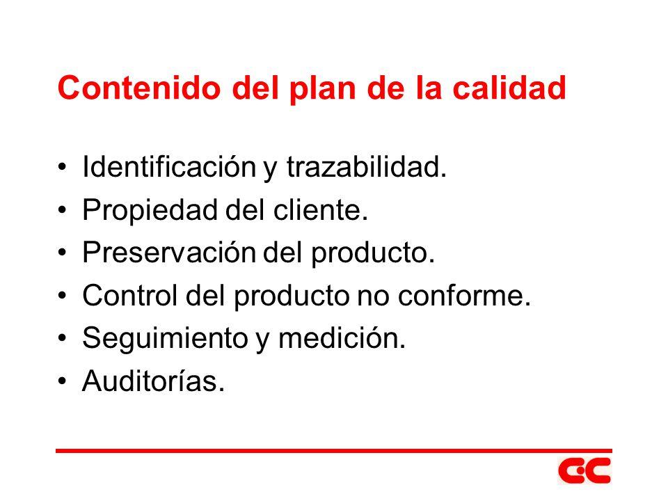 Contenido del plan de la calidad Identificación y trazabilidad. Propiedad del cliente. Preservación del producto. Control del producto no conforme. Se