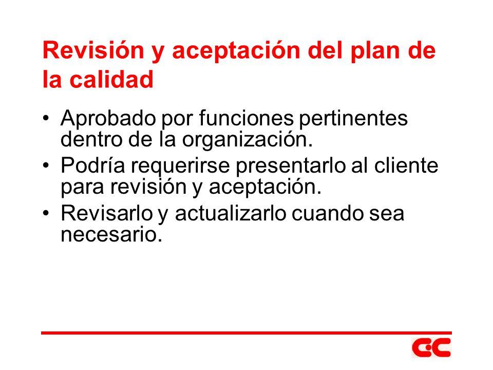 Revisión y aceptación del plan de la calidad Aprobado por funciones pertinentes dentro de la organización. Podría requerirse presentarlo al cliente pa