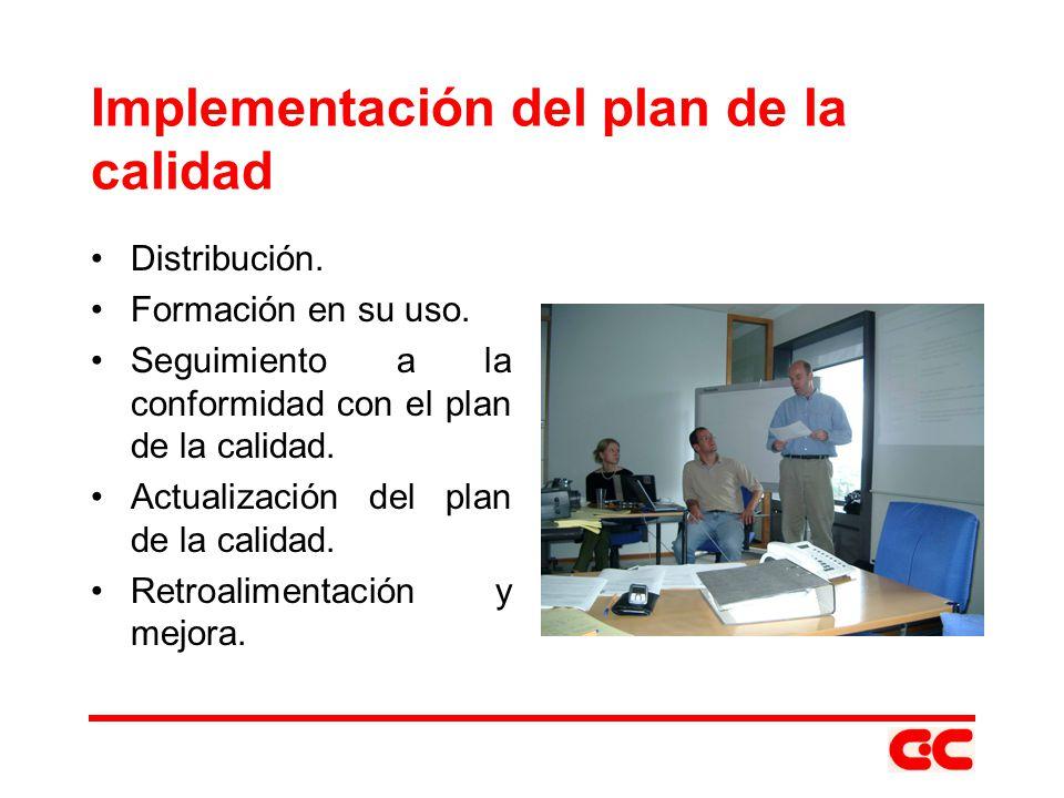 Implementación del plan de la calidad Distribución. Formación en su uso. Seguimiento a la conformidad con el plan de la calidad. Actualización del pla