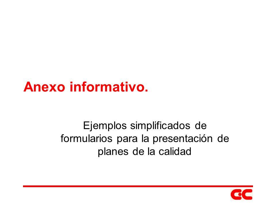 Anexo informativo. Ejemplos simplificados de formularios para la presentación de planes de la calidad