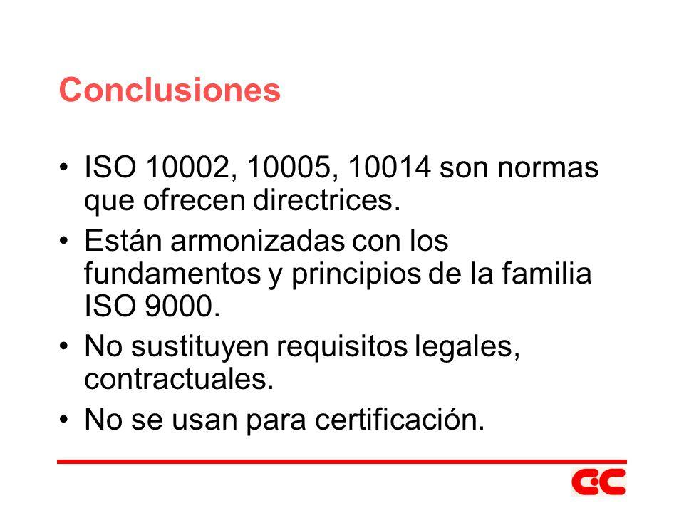 Conclusiones ISO 10002, 10005, 10014 son normas que ofrecen directrices. Están armonizadas con los fundamentos y principios de la familia ISO 9000. No