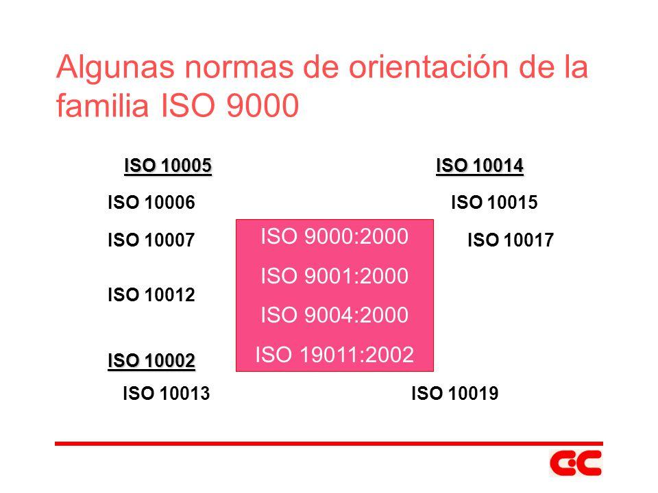 ISO 9000:2000 ISO 9001:2000 ISO 9004:2000 ISO 19011:2002 Algunas normas de orientación de la familia ISO 9000 ISO 10005ISO 10014 ISO 10005 ISO 10014 I