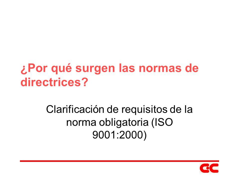Directrices de ISO 9000 y sus equivalentes nacionales ISO 10002:2004 ISO 10005:2005 ISO 10014:2006 NMX-CC-10002- IMNC-2005 PROY-NMX-CC- 10005-IMNC-2005 PROY-NMX-CC- 10014-IMNC-2005