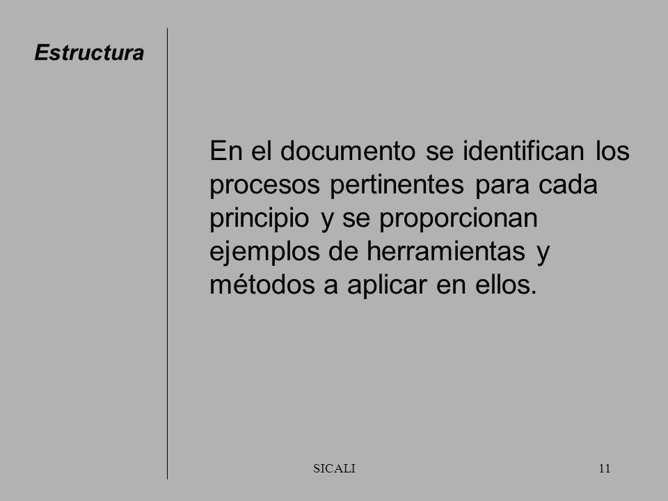 SICALI10 Estructura El documento está diseñado para apoyar a la alta dirección a identificar e incrementar, por medio de la aplicación de los principi
