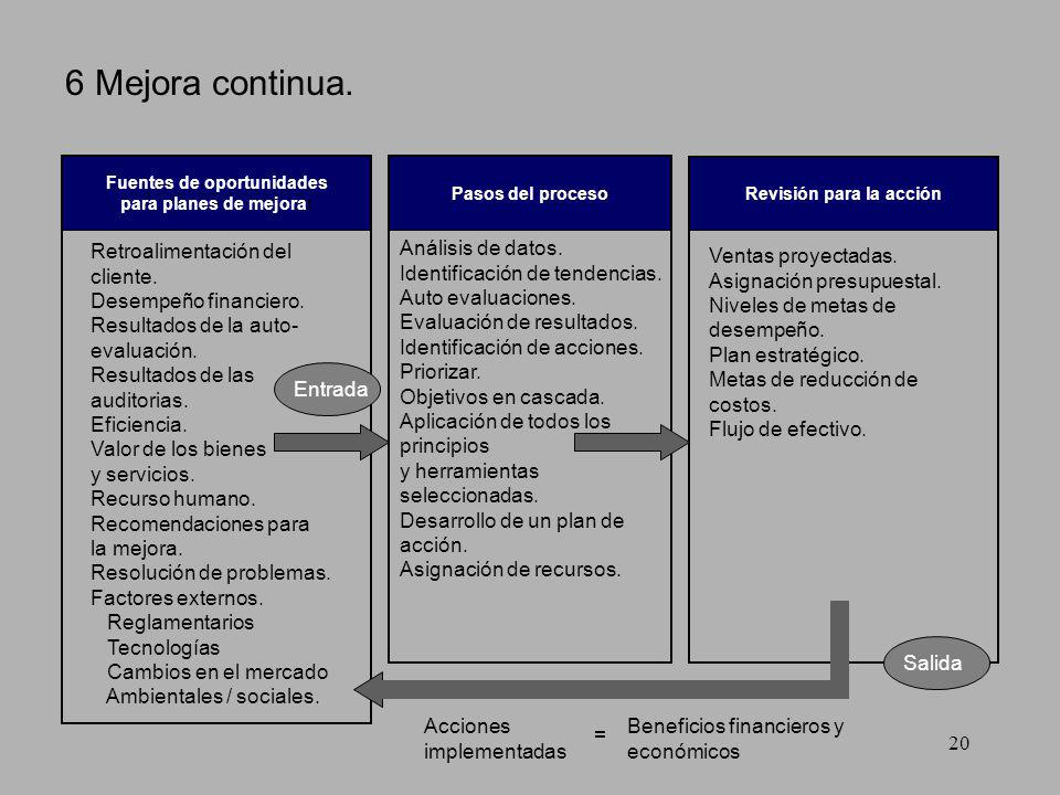 SICALI19 5 Enfoque de sistema. Balance general Diagramas de flujo Acciones preventivas Mapeo de procesos Auto evaluación Modelos de excelencia en los