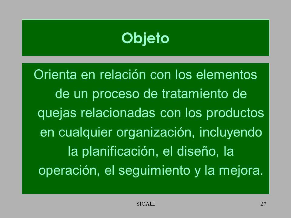 SICALI26 ISO 10002:2004 Gestión de la Calidad – Satisfacción del cliente – Directrices para el manejo de quejas.
