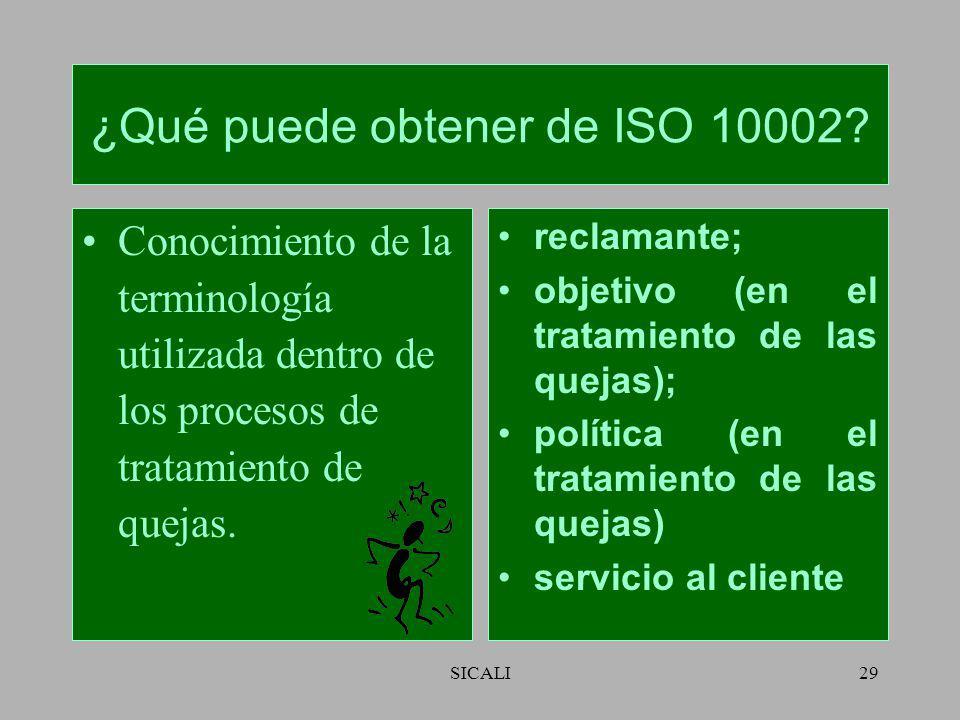 SICALI28 Campo de aplicación No es para resolución de litigios fuera de la organización ni para resolución de litigios laborales. Puede usarse por org