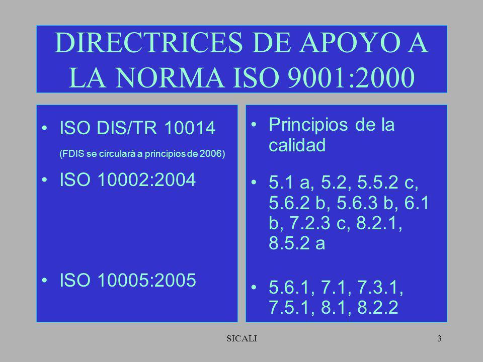 SICALI3 DIRECTRICES DE APOYO A LA NORMA ISO 9001:2000 ISO DIS/TR 10014 (FDIS se circulará a principios de 2006) ISO 10002:2004 ISO 10005:2005 Principios de la calidad 5.1 a, 5.2, 5.5.2 c, 5.6.2 b, 5.6.3 b, 6.1 b, 7.2.3 c, 8.2.1, 8.5.2 a 5.6.1, 7.1, 7.3.1, 7.5.1, 8.1, 8.2.2