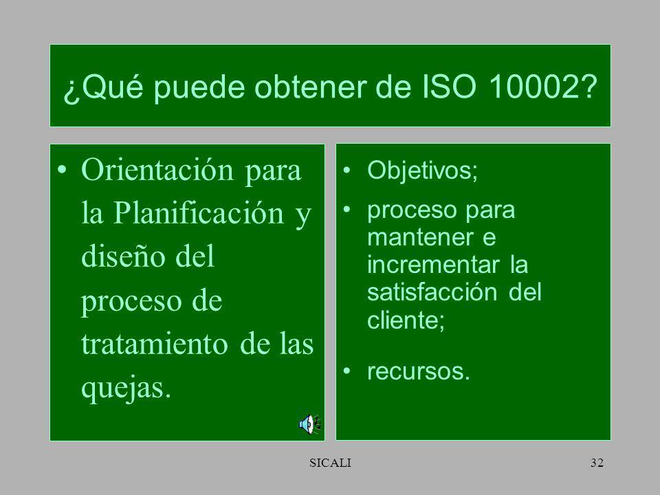 SICALI31 ¿Qué puede obtener de ISO 10002? Orientación relativa al marco de referencia para el tratamiento de las quejas. Compromiso; política; respons