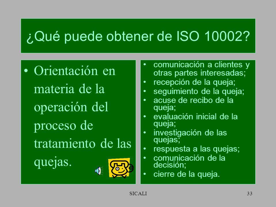 SICALI32 ¿Qué puede obtener de ISO 10002? Orientación para la Planificación y diseño del proceso de tratamiento de las quejas. Objetivos; proceso para
