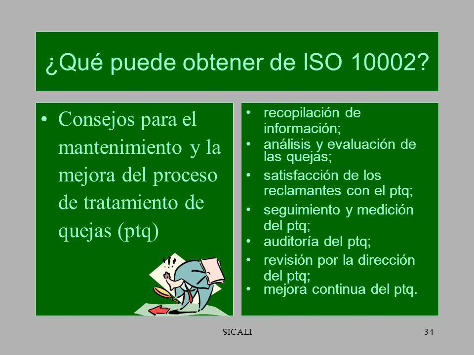 SICALI33 ¿Qué puede obtener de ISO 10002? Orientación en materia de la operación del proceso de tratamiento de las quejas. comunicación a clientes y o