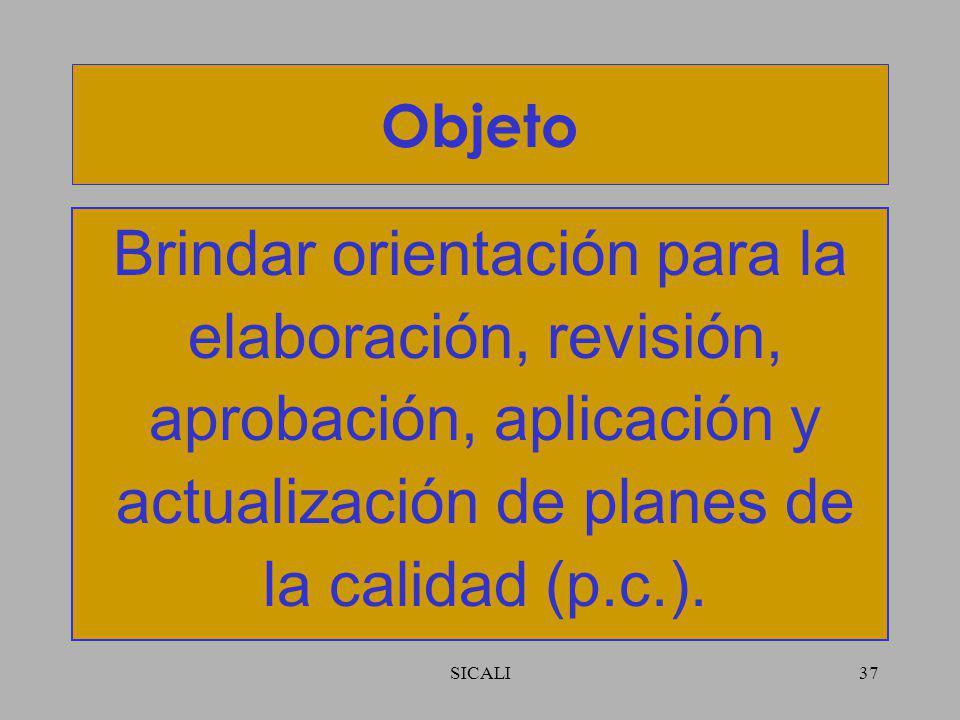 SICALI36 ISO 10005:2005 – Sistemas de Gestión de la Calidad - Directrices para los planes de la calidad.