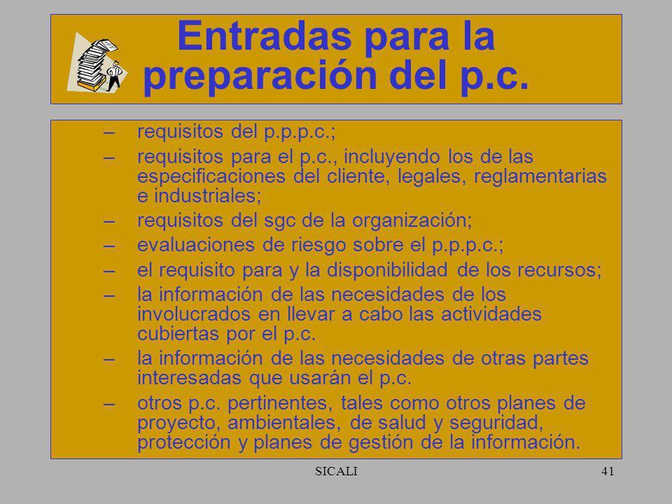 SICALI40 Desarrollo del p.c. Identificar la necesidad del p.c. –aplicación del sgc a un caso específico; –satisfacer requisitos legales o del cliente;