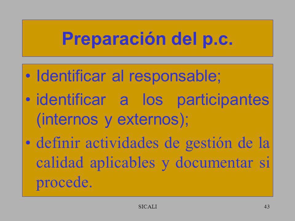 SICALI42 Alcance del p.c. La organización debería determinar que va a cubrir el p.c. y que está cubierto o se cubrirá por otros documentos. El alcance