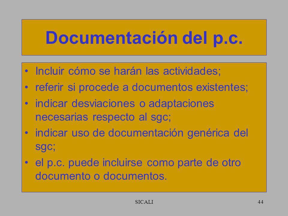 SICALI43 Preparación del p.c. Identificar al responsable; identificar a los participantes (internos y externos); definir actividades de gestión de la