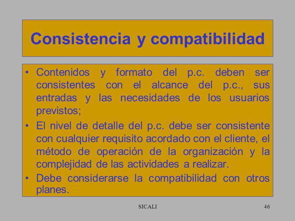 SICALI45 Responsabilidades Definir papeles, responsabilidades y autoridades dentro de la organización y con: –el cliente; –las autoridades legales; –u