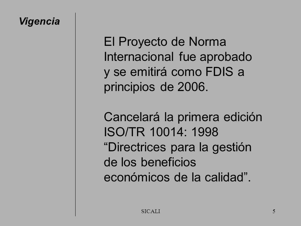 SICALI5 Vigencia El Proyecto de Norma Internacional fue aprobado y se emitirá como FDIS a principios de 2006.