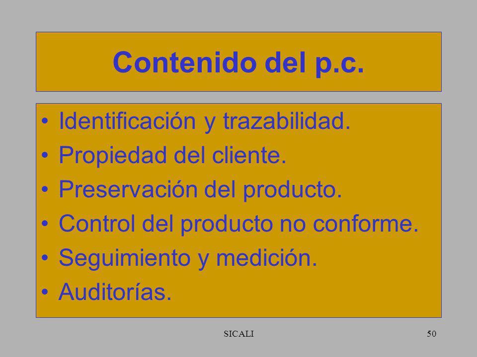 SICALI49 Contenido del p.c. Recursos. Requisitos. Comunicación con el cliente. Diseño y desarrollo. Compras. Producción y prestación del servicio.
