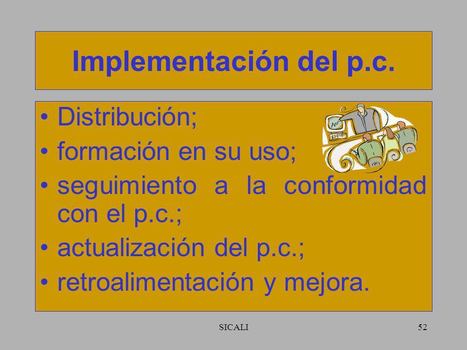SICALI51 Revisión y aceptación del p.c. Adecuado y eficaz; aprobado por una autoridad o grupo de representantes de las funciones pertinentes dentro de