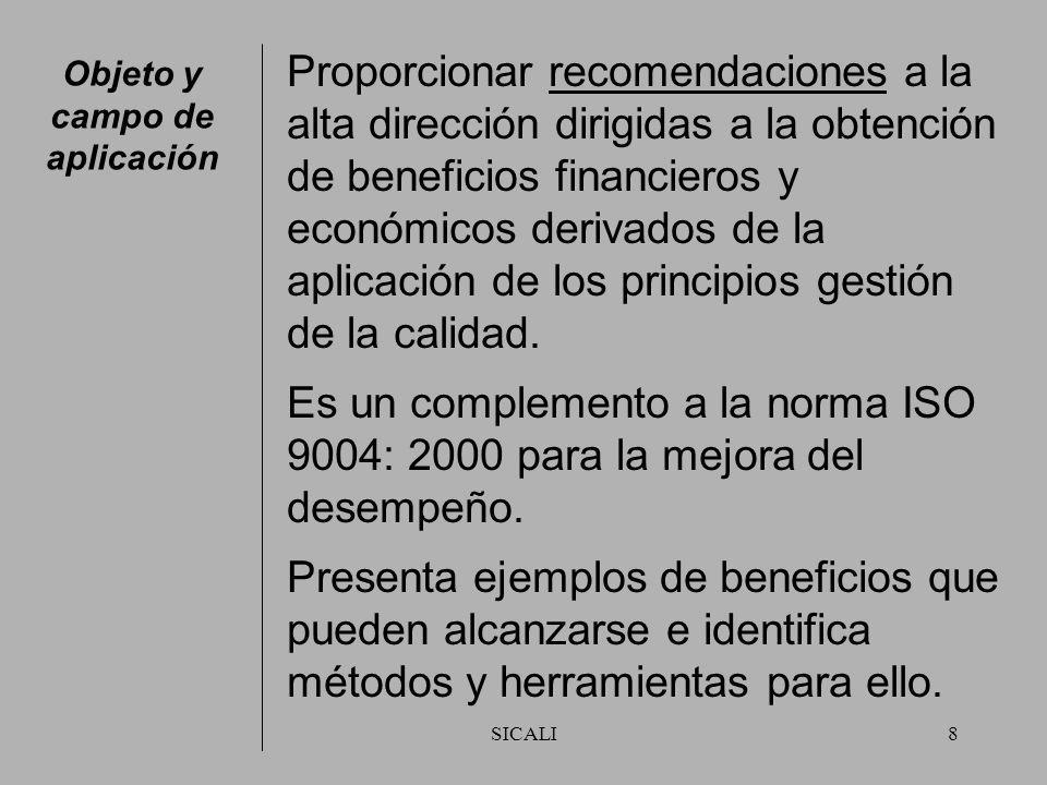 SICALI8 Objeto y campo de aplicación Proporcionar recomendaciones a la alta dirección dirigidas a la obtención de beneficios financieros y económicos derivados de la aplicación de los principios gestión de la calidad.