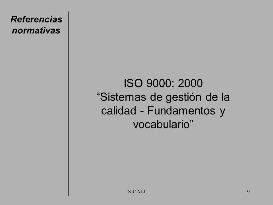 SICALI9 Referencias normativas ISO 9000: 2000 Sistemas de gestión de la calidad - Fundamentos y vocabulario