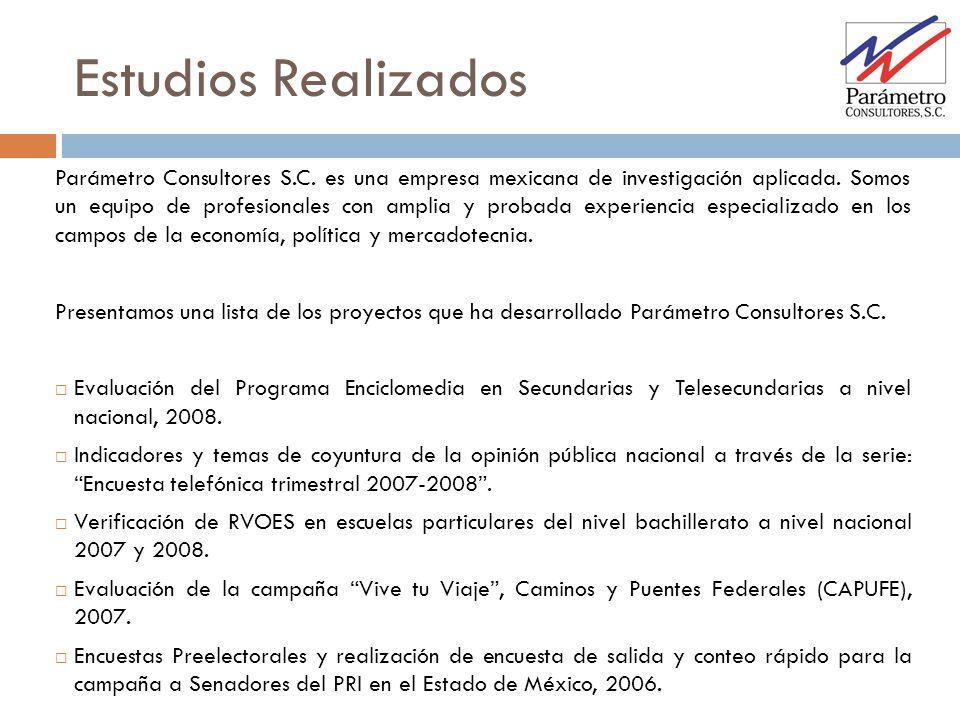 Estudios Realizados Parámetro Consultores S.C. es una empresa mexicana de investigación aplicada. Somos un equipo de profesionales con amplia y probad