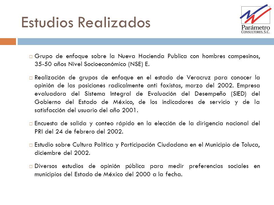 Estudios Realizados Grupo de enfoque sobre la Nueva Hacienda Publica con hombres campesinos, 35-50 años Nivel Socioeconómico (NSE) E. Realización de g