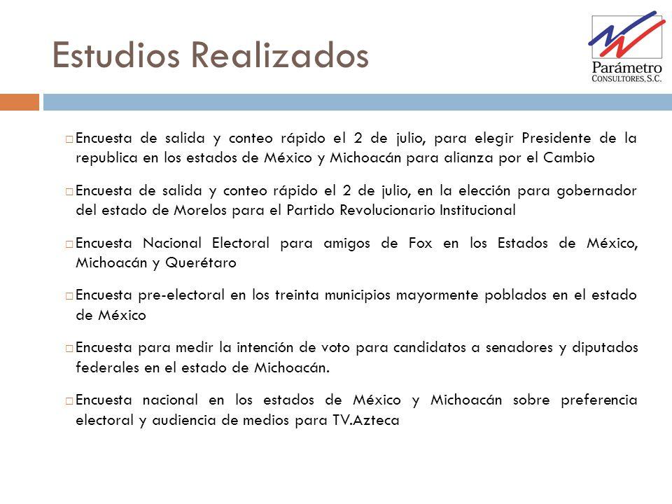 Estudios Realizados Encuesta de salida y conteo rápido el 2 de julio, para elegir Presidente de la republica en los estados de México y Michoacán para
