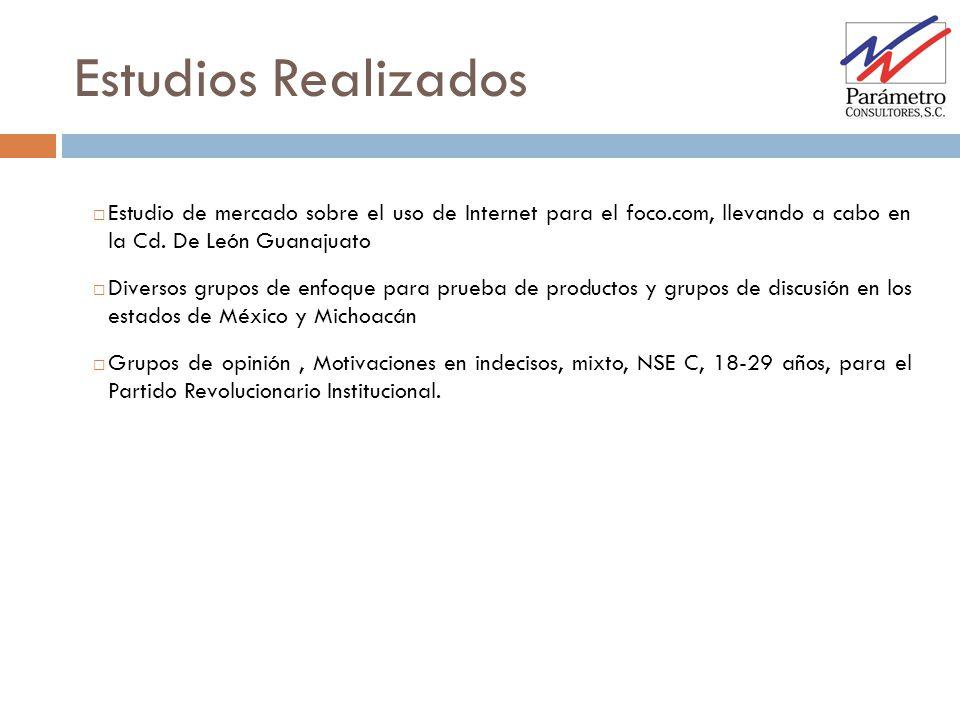 Estudios Realizados Estudio de mercado sobre el uso de Internet para el foco.com, llevando a cabo en la Cd. De León Guanajuato Diversos grupos de enfo