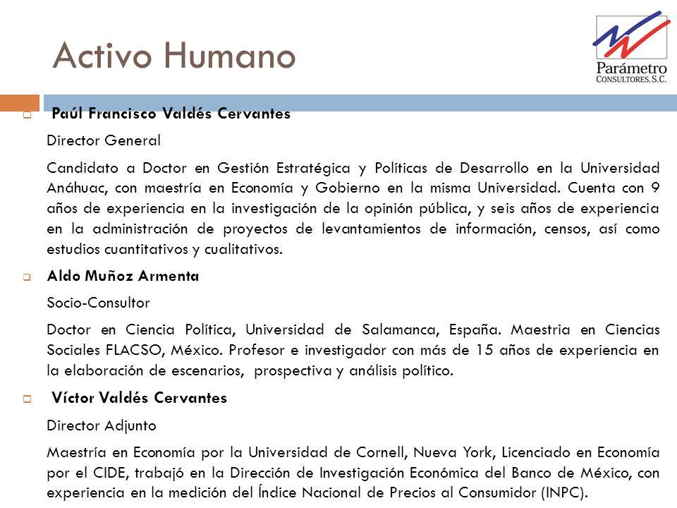Activo Humano Paúl Francisco Valdés Cervantes Director General Candidato a Doctor en Gestión Estratégica y Políticas de Desarrollo en la Universidad A