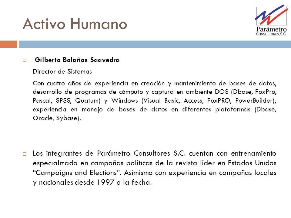 Gilberto Bolaños Saavedra Director de Sistemas Con cuatro años de experiencia en creación y mantenimiento de bases de datos, desarrollo de programas d