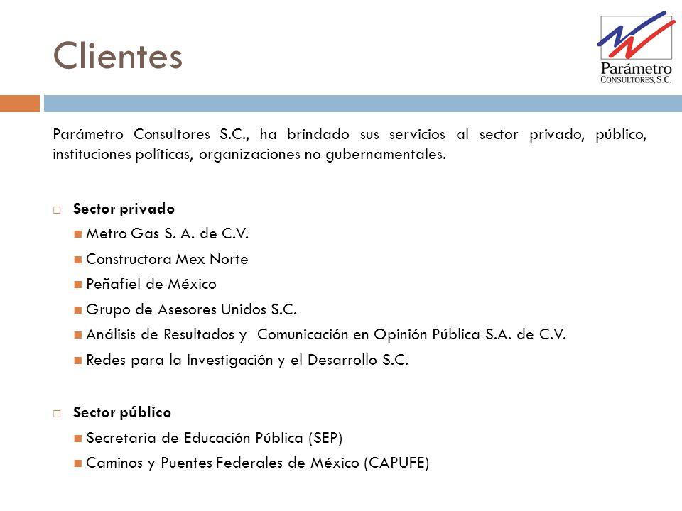 Parámetro Consultores S.C., ha brindado sus servicios al sector privado, público, instituciones políticas, organizaciones no gubernamentales. Sector p