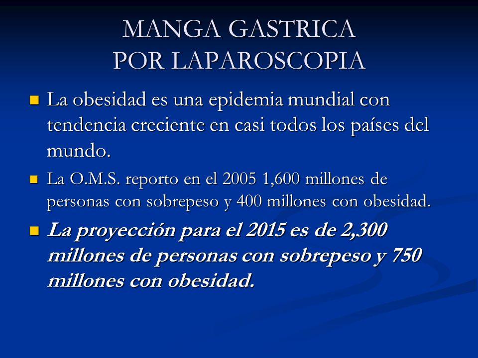 MANGA GASTRICA POR LAPAROSCOPIA La obesidad es una epidemia mundial con tendencia creciente en casi todos los países del mundo. La obesidad es una epi