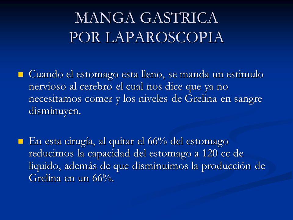 MANGA GASTRICA POR LAPAROSCOPIA Ventajas de corto a largo plazo Glucosa disminuye a niveles normales.
